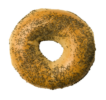 Poppy seed bagel isolated against a white background