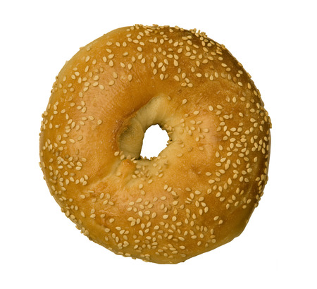 Sesame Seed Bagel isolated against white background Stock Photo