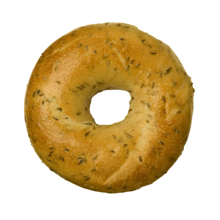 bagel: Rye caraway seed bagel isolated against white background