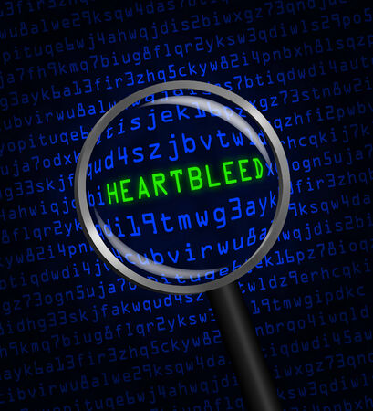 revealed: The word Heartbleed revealed in blue computer machine code through a magnifying glass  Stock Photo