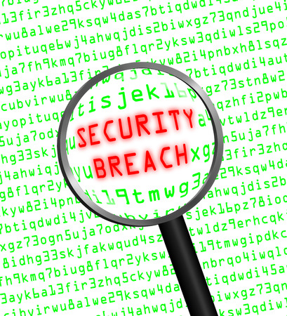 security breach: Red word SECURITY BREACH revealed revealed in green computer machine code through a magnifying glass.
