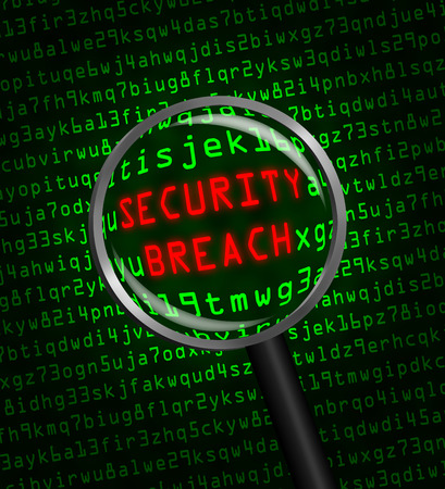 cyber defence: Red word SECURITY BREACH revealed revealed in green computer machine code through a magnifying glass.