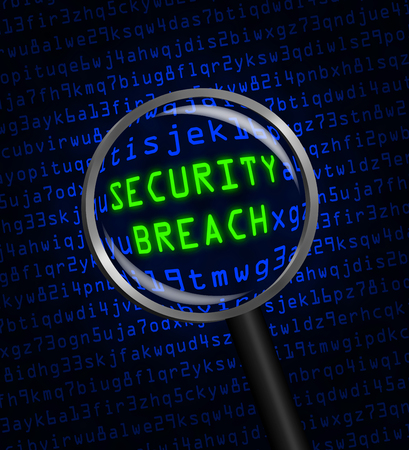SECURITY BREACH in green revealed in blue computer machine code through a magnifying glass