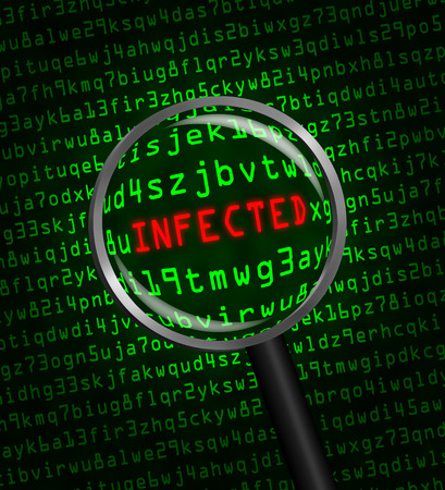 The word INFECTED in red revealed in green computer machine code through a magnifying glass  Stock Photo