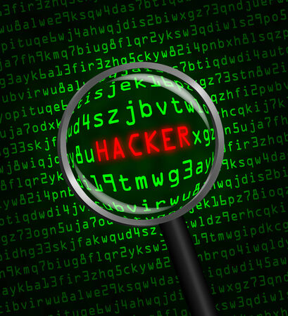 revealed: The word HACKER in red revealed revealed in green computer machine code through a magnifying glass  Stock Photo