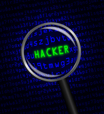 The word HACKER in green revealed revealed in blue computer machine code through a magnifying glass photo