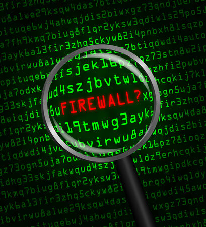 revealed: The word FIREWALL? in red revealed in green computer machine code through a magnifying glass