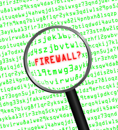 revealed: The word FIREWALL in red revealed in green computer machine code through a magnifying glass.  Stock Photo
