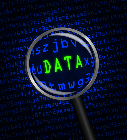 locating: The word DATA in green revealed in blue computer machine code through a magnifying glass.  Stock Photo