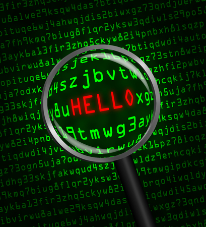The word HELLO in red revealed in green computer machine code through a magnifying glass  photo