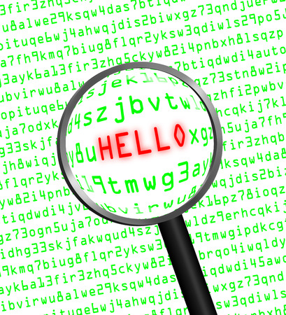 The word HELLO in red revealed in green computer machine code through a magnifying glass. photo