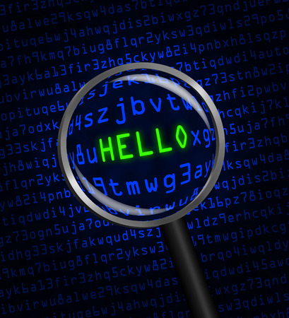 revealed: The word HELLO in red revealed in green computer machine code through a magnifying glass.