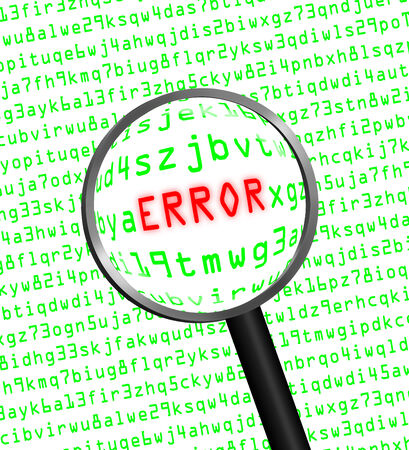 cyber defence: The word ERROR in red revealed in green computer machine code through a magnifying glass.