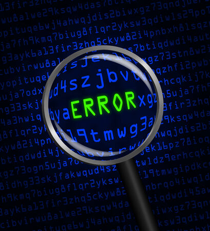 error message: The word ERROR in green revealed in blue computer machine code through a magnifying glass.