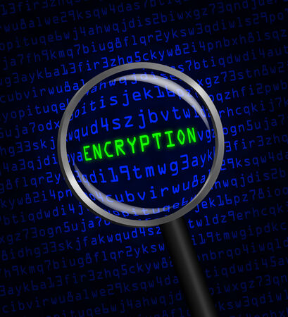 The word ENCRYPTION in green revealed in blue computer machine code through a magnifying glass. photo