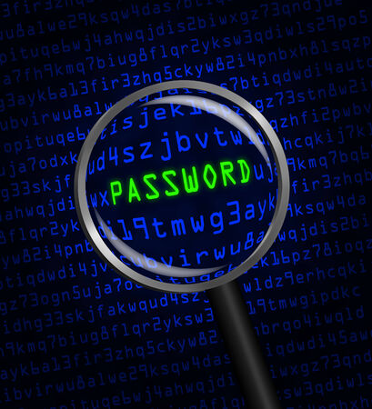 revealed: The word PASSWORD in green revealed in blue computer machine code through a magnifying glass. Stock Photo