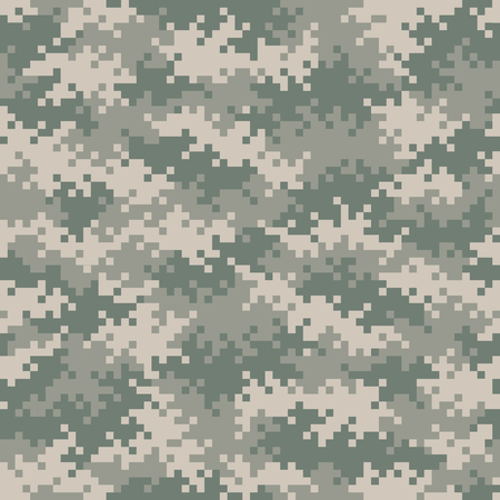 Military gray-green camouflage pixel pattern seamlessly tileable