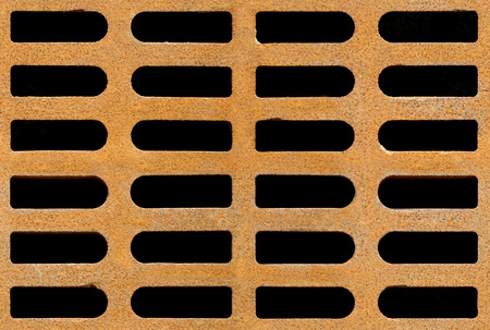 oxidized: Rusty drain grate background texture, seamlessly tileable Stock Photo