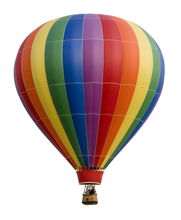 flying float: Colorful Hot Air Balloon Against White
