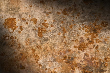 diagonally: Metallic background with rusty corrosion, lit diagonally