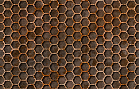 metal grate: Rusty hexagon pattern grate texture background seamlessly tileable