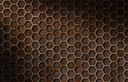 grate: Rusty hexagon pattern grate texture background lit diagonally Stock Photo