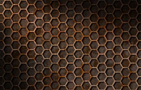 diagonally: Rusty hexagon pattern grate texture background lit diagonally Stock Photo
