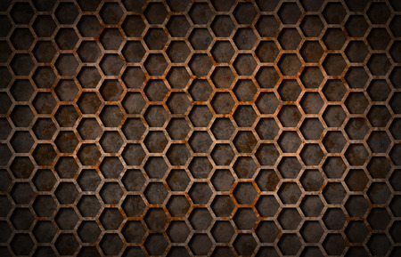 grate: Rusty hexagon pattern grate texture background