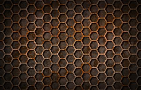 metal grate: Rusty hexagon pattern grate texture background