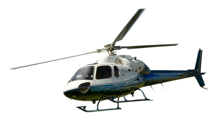 Blue and white helicopter in flight isolated against white background Stock Photo