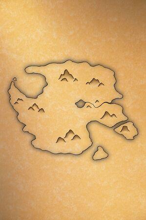 黄色い紙の上の島の骨董品見るマップ