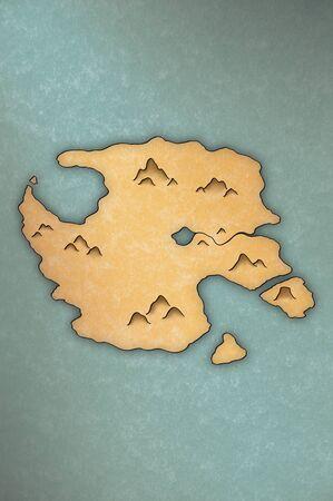 パピルスのような紙の上の島の骨董品見るマップ