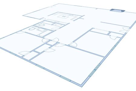 residential home: Perspective view of a blueprint of a residential home