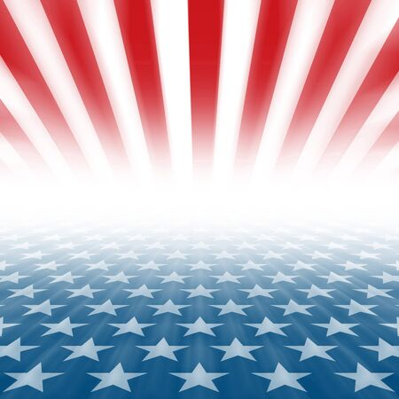 Stars and Stripes perspective background disappearing in a horizontal vanishing point Stock Photo