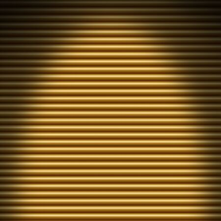 overhead: Horizontal gold tube background texture lit from overhead Stock Photo