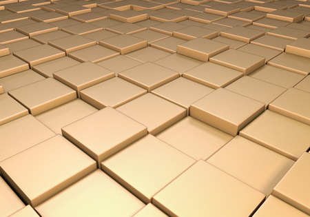 reflective: Field of reflective metallic gold tiles at different heights Stock Photo