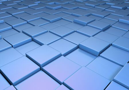 Field of reflective metallic blue tiles at different heights