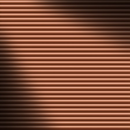 lit: Horizontal copper-colored tube background texture lit diagonally