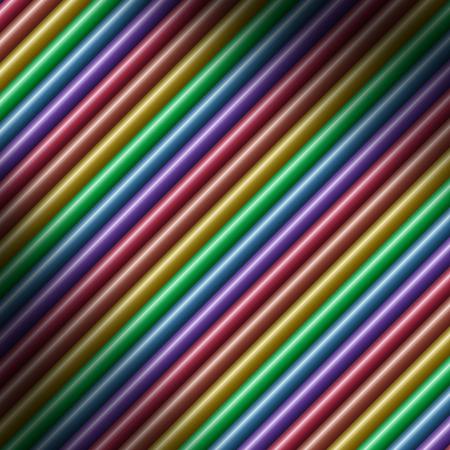 Diagonal multicolored tube background texture  lit diagonally