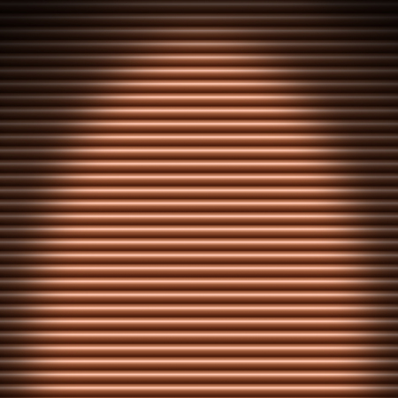 Horizontal copper-colored tube background texture lit from above