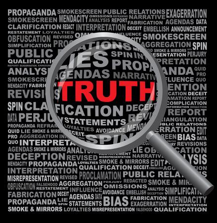 Het woord WAARHEID verborgen in een veld van anti-eerlijke tekst vergrootglas tegen een zwarte achtergrond Stockfoto