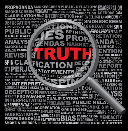The word TRUTH hidden in a field of anti-honest text magnifying glass against a black background Stock Photo