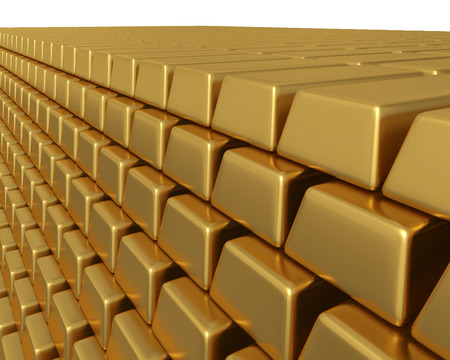 3D illustration of thousands of gold bullion bars piled high, representing enormous weath or assets.