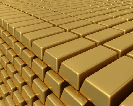 3D illustration of thousands of gold bullion bars piled high representing enormous weath or assets.