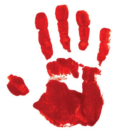 Red hand print on white background suggesting a bloody hand, a possible symbol of guilt. Banque d'images - 138196920