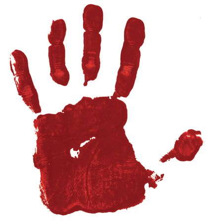 Red hand print on white background suggesting a bloody hand, a possible symbol of guilt. Banque d'images - 140128699