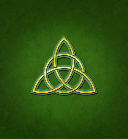 Celtic Trinity Knot or Triquetra against green background