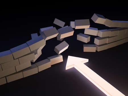 A luminous arrow breaks through a wall Stock Photo - 8603233