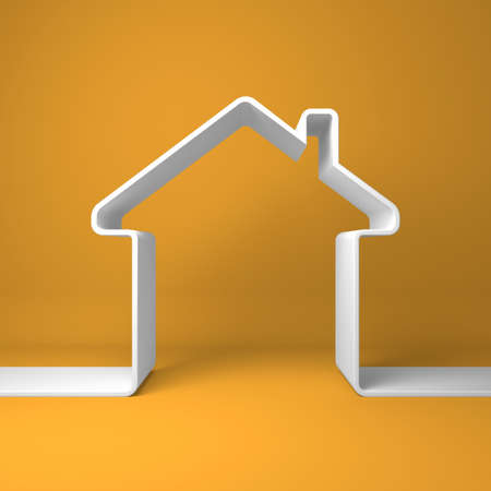small house: Symbolic house on the orange background  Stock Photo