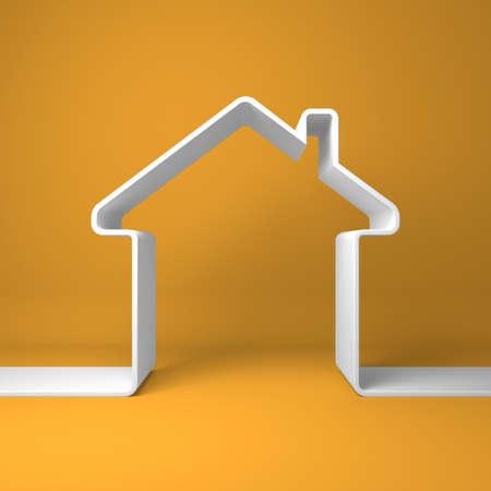 Symbolic house on the orange background  Standard-Bild